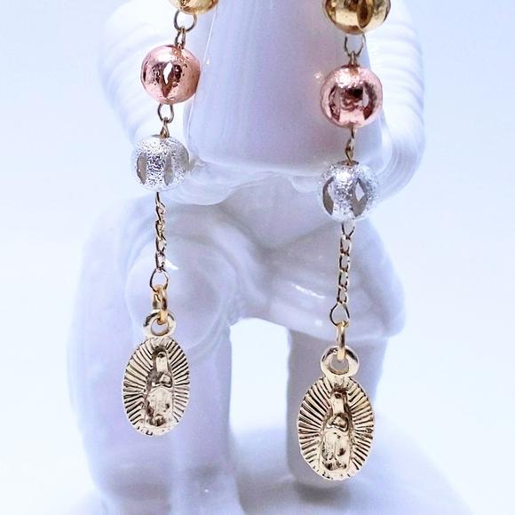 Tri-Bead Silver Leather Teardrop Earrings